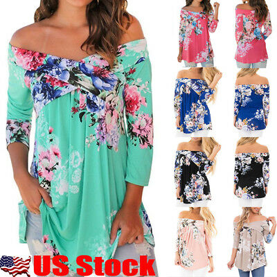 USA Womens 3/4 Sleeve Off Shoulder Floral Print Top Blouse Casual Loose T Shirt