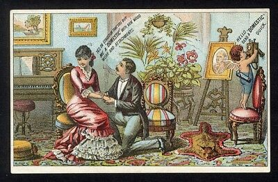 DOMESTIC Sewing Machine Trade Card 1880's Cupid Man Proposing Parlor Romance