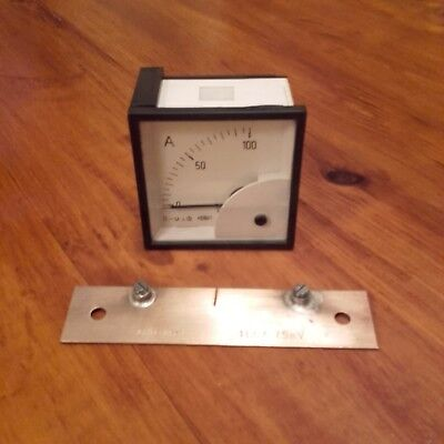 100Amp DC Ammeter & 75mV Shunt for Wind Turbine, Solar PV, battery charger etc.