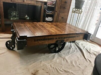 Beautifully restored Antique Factory Carts. Lineberry , original wood, wheels