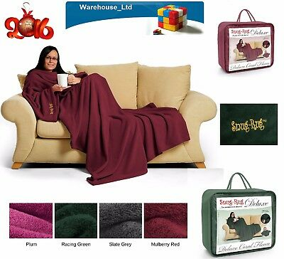 """Snug-Rug Deluxe Coral FleeceThe Blanket with Sleeves, Adult 60"""" x 84"""" - All V"""