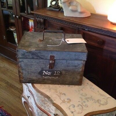 Vintage Antique Country French Zinc Metal Lock Box Cottage Chic Industrial