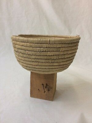 Woven Basket, Natural Braided Straw, Mounted on Wood block w/ nails, Handmade