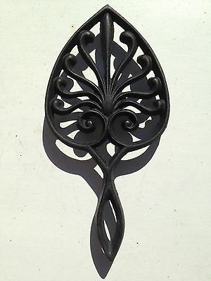 Cast Iron Trivet Leaf Shaped Numbered Footed