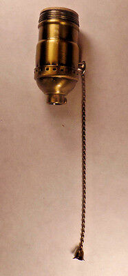 On/Off Solid Antique Brass Pull Chain Early Electric Style Uno Lamp Socket #285A