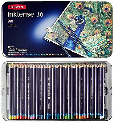 -NEW Derwent Inktense 36 Permanent Colouring Pencils Tin Watercolour