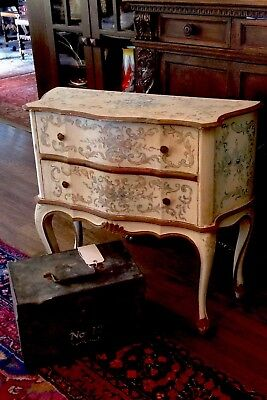 Fabulous Chic Hand Painted italian Small Chest Comode Night Stand Venetian