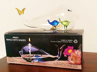 NIB Blown Glass Whale with babies - Oil lamp by Northwest Glass Designs