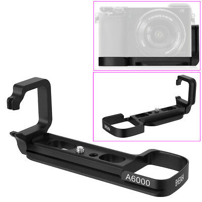 L-Plate Bracket Hand Grip for Sony A6300 A6000 Camera Quick Release Black