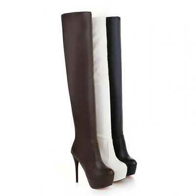 3a723511cbc8 Soft Leather Platform Round Toe Thin High Heels Thigh High Over The Knee  Boots