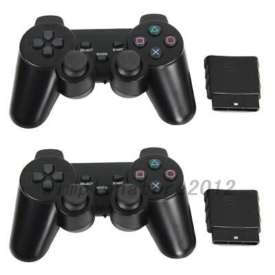 2Pcs 10m Black Wireless Shock Game Controller for Sony PS2 AU Local