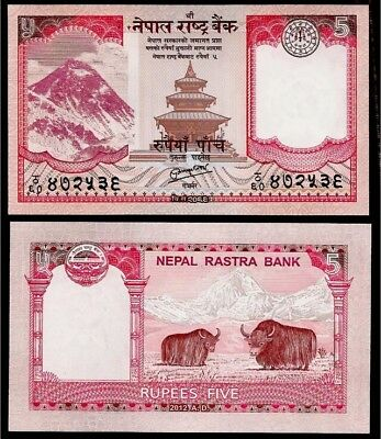 NEPAL 🇳🇵 5 Rupees Banknote, 1987, P-30b, UNC World Currency
