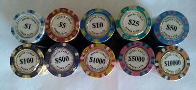 100 poker chips Monte Carlo 14 gram choice of 10 denominations