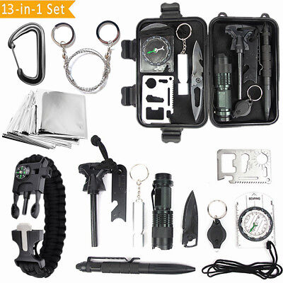 13 in 1 SOS Kit Outdoor Emergency Equipment Box For Camping Survival Gear Kit