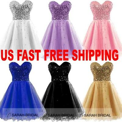 US Hot Short Homecoming Cocktail Dresses Evening Party Formal Prom Pink Gown 6 8