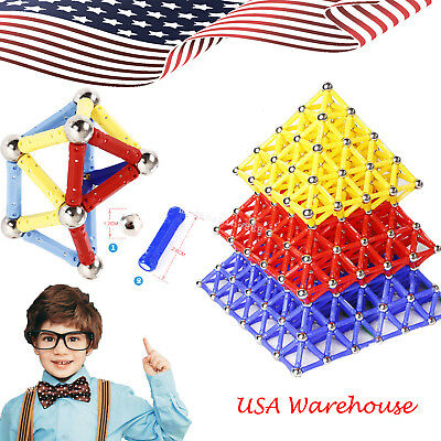 USA 60PCS Magnetic Building Blocks Construction Children Toys Educational Block