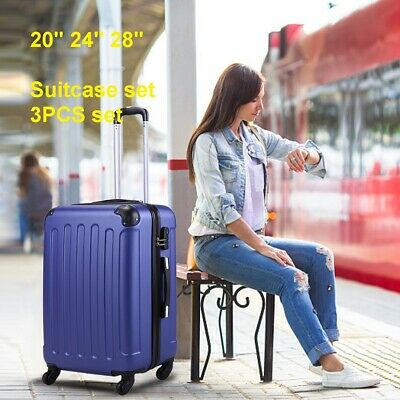 ECO 3 Pcs Luggage Travel Set Bag ABS Trolley Suitcase w/TSA lock 4 Wheels Blue