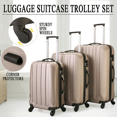 ECO 3Pc Luggage Travel Set Bag ABS Trolley Suitcase w/TSA Lock 4 Wheels