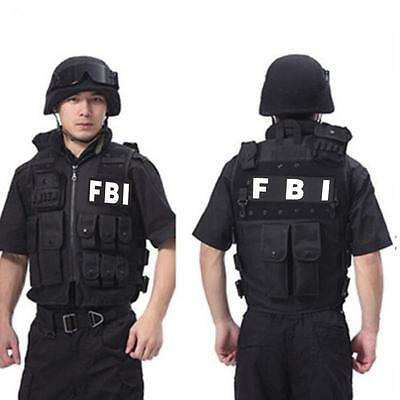 Black Tactical Army FBI POLICE SWAT Airsoft Combat Assault Carrier Hunting Vest