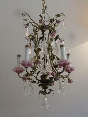 ANTIQUE VTG FRENCH BRASS PORCELAIN PINK ROSES PETITE CAGE CHANDELIER w CRYSTALS