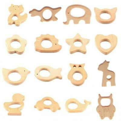 Handmade Cute Animal Shape Wooden Natural Chew Teether Toy Baby Teething Ring