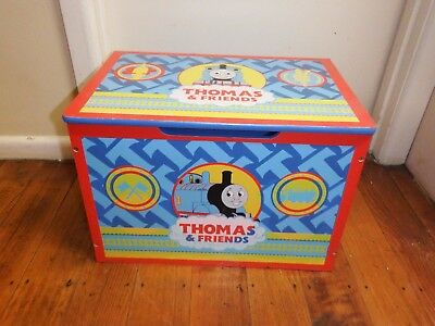 Thomas The Tank Engine  Wooden Toy Box With  Lid Good Condition