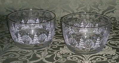 2 HTF Arbys Christmas Holiday Winter White Candy Bowls Nut Dish  - W/ Gold Trim