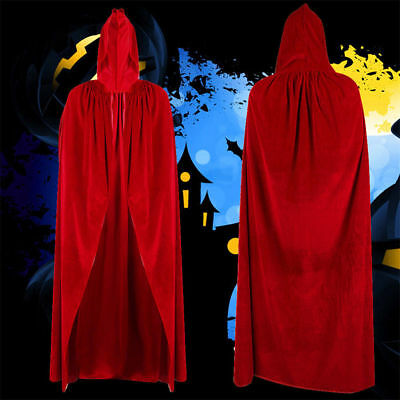 Halloween Party Witch Velvet Cloak Red Adult Hooded Cape Wedding Robe Costume