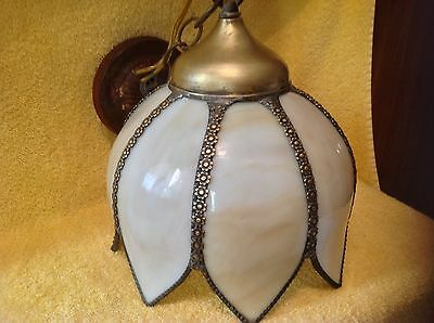 Vintage Brass Hanging Swag Tulip Lamp- 8 Panel Slag Glass Shade - Vintage 1950's