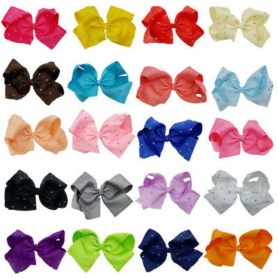 Mixed 8 Inch Girls Large Bowknot Hair Bow Alligator Clips Ribbon Hair Clip