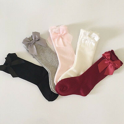 Toddler Kid Baby Girl Knee High Long Socks Bow Cotton Casual Stockings 0-4Y 2017