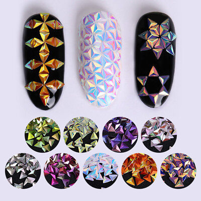 Nail Sequins Chameleon Triangle Iridescent Flakes 3D Nail Art Decoration