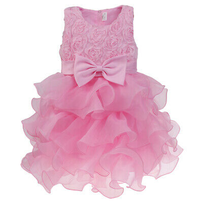 Kids Girls Flower Formal Wedding Bridesmaid Party Dress Princess Tulle Dresses