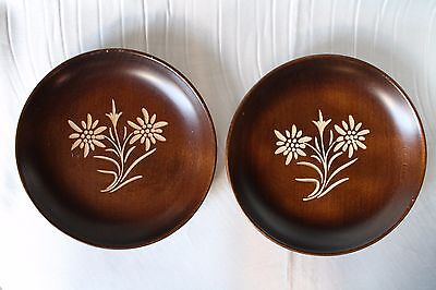 Hand Carving Flower Wooden Bowl  a Pair