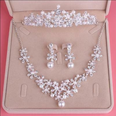 3 Pcs Pearls Crystal Crown Necklace Earrings Wedding Party Tiara Accessories