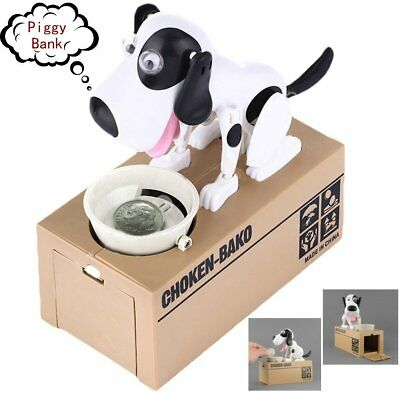 Choken Puppy Hungry Eating Dog Coin Bank Money Saving Box Piggy Bank Kid Gift BS