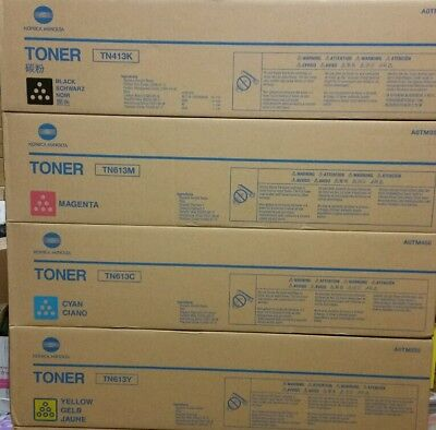 1 set Genuine Konica Minolta TN413K Black  TN613 C,M Y Toner Cart. Bizhub C452