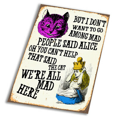 Alice Wonderland all mad here  - Vintage Art Print Poster - A1 A2 A3 A4 A5