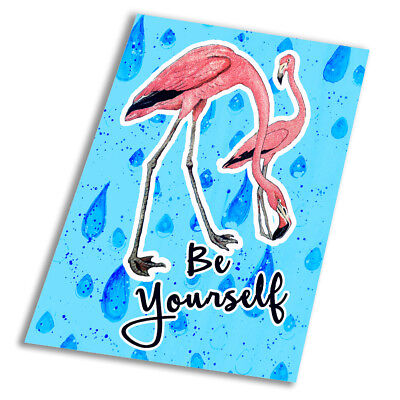 Flamingo Be Yourself Unique  - Vintage Art Print Poster - A1 A2 A3 A4 A5