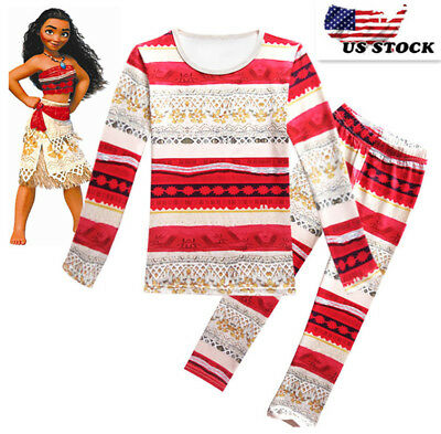 Girls Maui Moana Pajamas 2-Piece Set Pants & Long Sleeve Shirt Sleepwear  K112