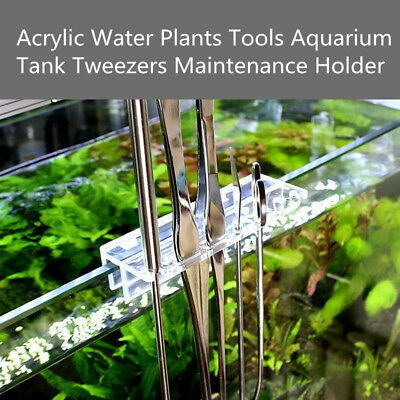 Acrylic Water Plants Tool Maintenance Side Holder Aquarium Tank Tweezer Scissors