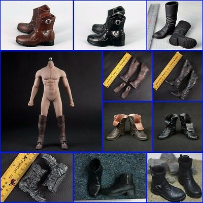 """1/6 Scale Men's Leather Boots Shoes For Hot Toys 12"""" Male Figure Body Clothes"""