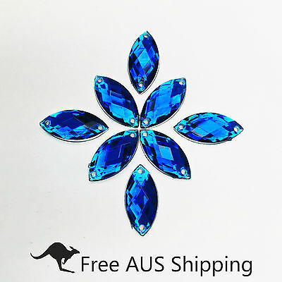 Blue Horse Eye Acrylic Crystal Flatback Rhinestones 7x15mm - 50pcs Sew On