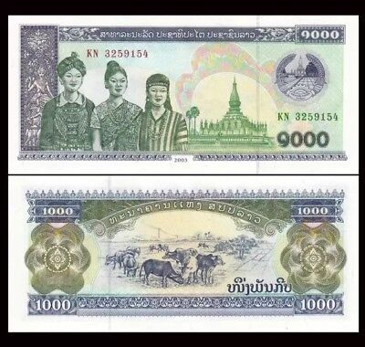 LAOS 🇱🇦 1000 Kip Banknote, 2003, P-32, UNC World Currency