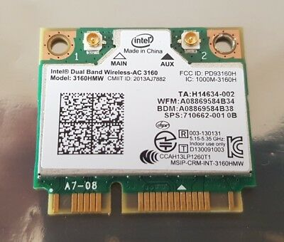 HP 710662-001 Intel Dual Band WireLess AC 3160 3160HMW WiFi IEEE802.11AC