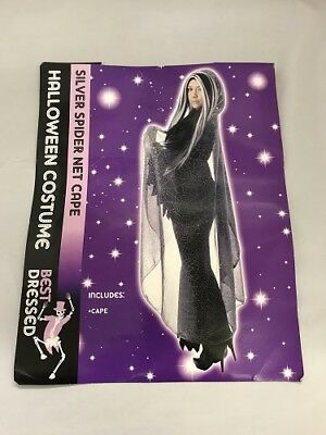Halloween Black & Silver Spider Net Fancy Dress Ladies Cape Fantastic Party Acce