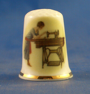 Birchcroft China Thimble -- Jones Treadle Sewing Machine -- Free Dome Gift Box