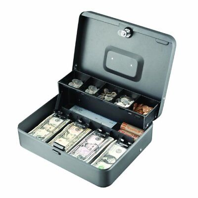 Cash Box Money Drawer Key Locking Safe Lock Gray 5 Compartment Cantilever Tray