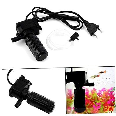 Mini 3 in 1 Aquarium Internal Filter Fish Tank Submersible Pump Spray EU MW
