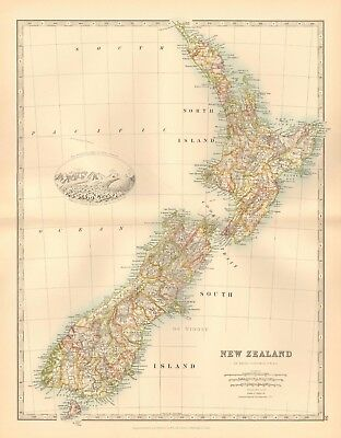 1891 Antique Map - New Zealand, Inset Southern Alps